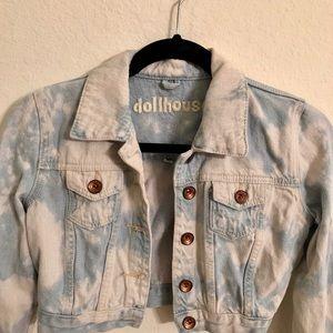 Dollhouse Cropped Acid Wash Denim Jacket